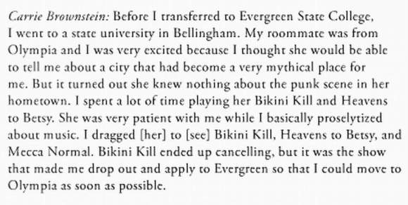 Excerpt from an article called Sisters Outsiders The Oral History of the Bikini Kill E.P. by Jessica Hopper in BBB Magazine (London, UK) 2013
