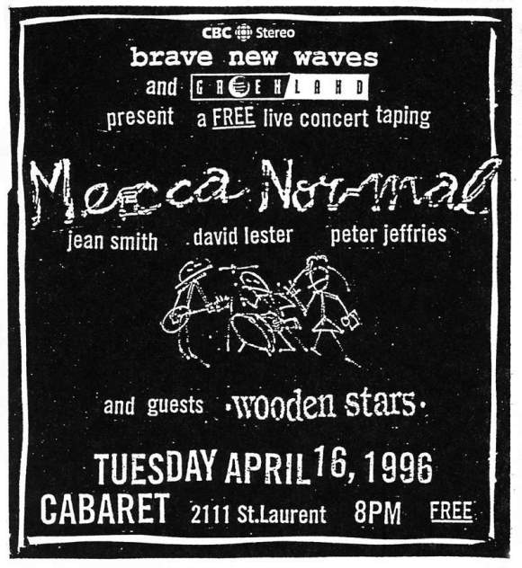 Mecca Normal poster Montreal, BNW, 1996